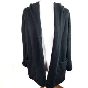 James Perse Open Hooded Cardigan with Pockets